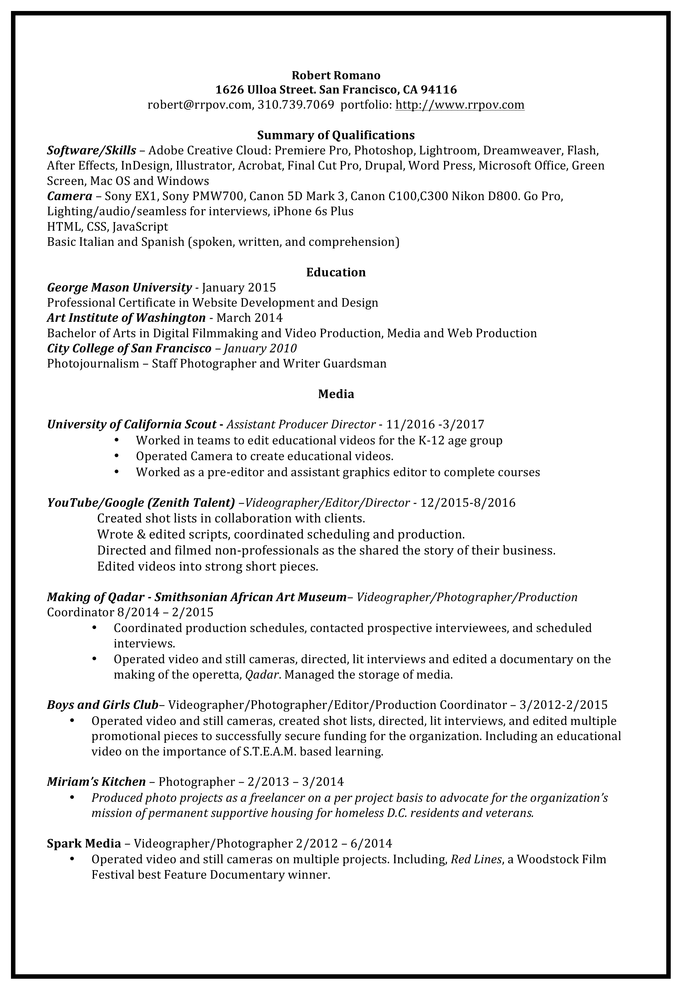 Download Robert Romano Resume
